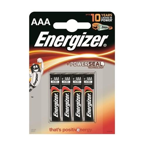 Baterie Energizer Base PowerSeal AAA, LR03, mikrotužková, 1,5V, blistr 4 ks