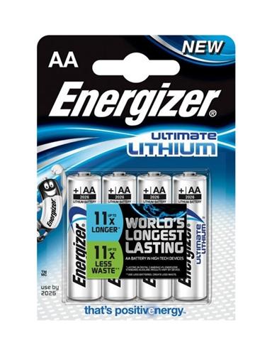 Baterie Energizer Ultimate Lithium AA, LR6, tužková, 1,5V, blistr 4 ks