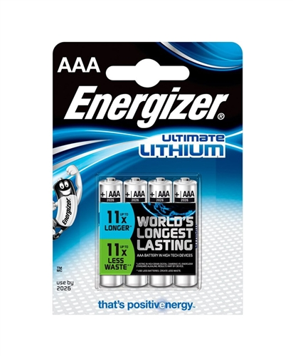 Baterie Energizer Ultimate Lithium AAA, LR03, mikrotužková, 1,5V, blistr 4 ks