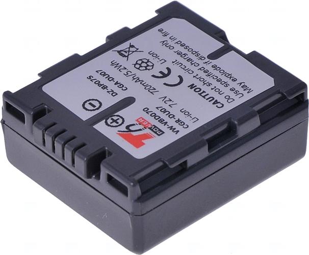 Baterie T6 power CGR-DU07, VW-VBD070, CGA-DU07, CGA-DU07A/1B, DZ-BP07S, CGR-DU06, CGA-DU06, CGA-DU06A/1B, CGA-DU07E/1B, BZ-BP14S, BZ-BP14SW, šedá