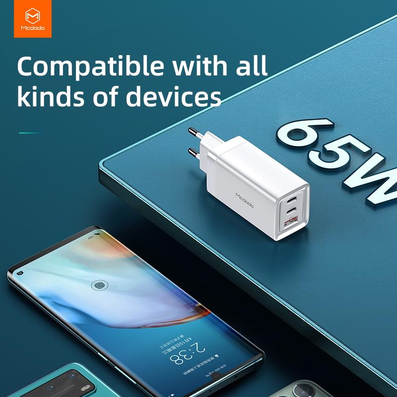 Mcdodo GaN nabíječka do sítě, 220V, 65W, 2x USB-C, 1x USB-A, bílá