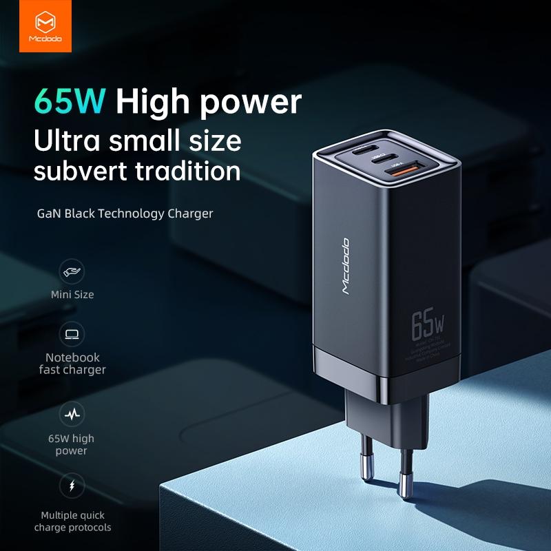 Mcdodo GaN nabíječka do sítě, 220V, 65W, 2x USB-C, 1x USB-A, černá